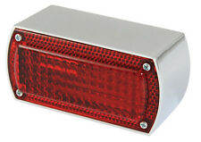 Motorcycle Rear Light - Rectangular - Chrome with Stop/Tail Lights universal fit