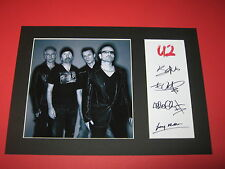 U2 BONO THE EDGE ADAM CLAYTON LARRY MULLEN A4 MOUNT SIGNED AUTOGRAPH REPRINT