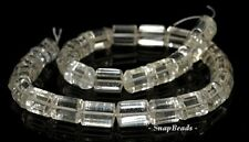 13X10MM  ROCK CRYSTAL GEMSTONE TRIANGLE TUBE FACETED LOOSE BEADS 7""