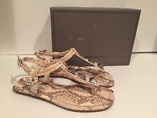 BCBG Max Azria Bryn Sandals Flat Leather Studded Snake Print 38/ 8 M New $150