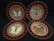 Butterfly Coasters Rattan Set Of 4 Real Wings Country Cabin Cottage Picnic Decor