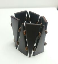 Sono Wood Stretch Bracelet, Brown Triangle Motif 7""