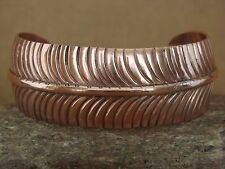 Navajo Indian Jewelry Hand Stamped Copper Feather Bracelet by Ben Begay