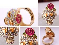 R166 BETSEY JOHNSON Exquisite Cute Crystal Gem Pink Skull Rose Ring US