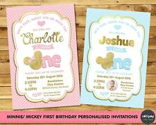 MINNIE MICKEY MOUSE FIRST 1ST BIRTHDAY PERSONALISED INVITATIONS INVITE GOLD