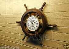 """Wooden Wheel Clock for Wall 18"""" ✿ Sheesham Wood Vintage Antique type ✿Home Decor"""