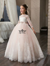 Flower Girl Dress Prom Wedding Birthday Pageant Party communion baptism Age 2-14