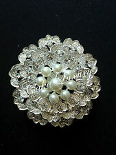 Pearl Crystal Vintage Brooch Bouquet Pin / Cake Jewellery / Invitation Buckle
