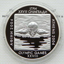 Ukraine 10 UAH 2002 PROOF 1 OZ Silver COA 31.1gr Swimming Olympic