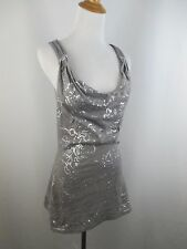 C KEER ANTHROPOLOGIE WOMENS SZ XS GRAY SILVER SEQUIN COWL NECK SHIRT TOP