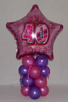 40th BIRTHDAY - AGE 40 - FEMALE PINK - FOIL BALLOON DISPLAY - TABLE CENTREPIECE
