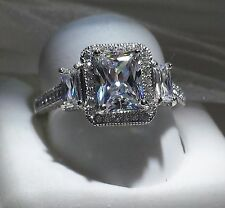 925 SILVER 3ct  EMERALD CUT HALO ENGAGEMENT RING .... SIZE 5