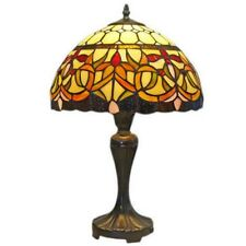 "Tiffany Style Floral Table Lamp 12"" Wide Amora Lighting Stained Glass AM018TL12"