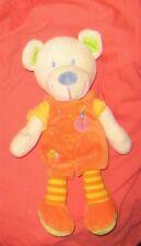 Doudou Ours salopette orange MOTS D'ENFANTS TBE