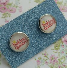 Baking Queen Text Crown Image Silver Plated Earrings Gift Bake Cupcake Cook