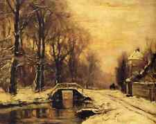 Golden Winter Bridge - A Snow Covered Forest by Louis Apol 8x10 Art Print 0247