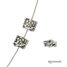 6 Antique Sterling Silver Flower Square Spacer Beads 6mm (Hole 1.0mm) #99440