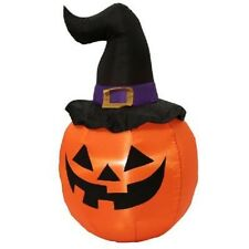 5' Pumpkin w/ Witch Hat Hallloween Yard Airblown Inflatable - Yard Decor Gemmy