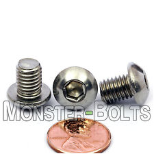 8mm - 1.25 x 10mm - Qty 10 - A2 Stainless Steel BUTTON HEAD Screws M8-1.25 x 10