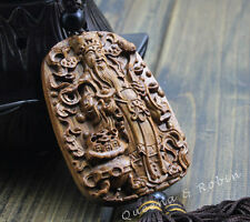 Wood Carving Chinese Wealth God Caishenye Statue Car Pendant Wooden Craft 财神