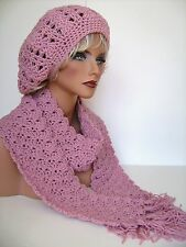 DUSTY ROSE PINK RASTA HAT AND SCARF SET BERET CLOCHE BAGGY SLOUCHY TAM CROCHET