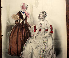 LE FOLLET 1845 Hand-Colored Fashion Plate #1222 Toilette de Spectacle ORIG.PRINT