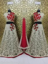 Designer Wear Cream with Red Embroidery Lehenga Choli