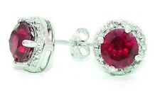 2 Carat Created Ruby & Diamond Round Stud Earrings .925 Sterling Silver
