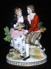 ANTIQUE DRESDEN PORCELAIN COURTING SCENE FIGURE GROUP STATUE SIGNED MARKED R