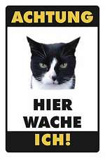 Blechschild - WARNSCHILD HIER WACHE ICH - KATZE SCHWARZ WEISS -  20x30 cm 23021