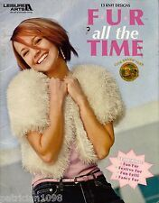 Leisure Arts 3984 Fun Fur Easy Beginner Knitting Patterns Hat Bag Poncho 2005