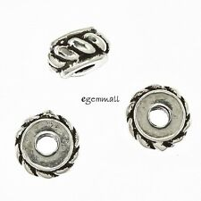 6 Antique Bali Sterling Silver Rope Rondelle Spacer Beads ap. 5mm #97747