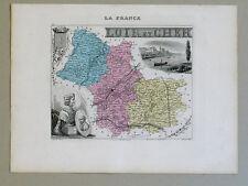 LOIR et CHER Carte géographique Vuillemin Atlas Migeon BLOIS RONSARD LOUIS XII