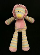 """Animal Alley Lion Pink Yellow Purple Green White Bow Multi-Colored 11"""" Plush"""