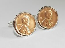 Luxury 1944 73rd Birthday / Anniversary real one cent lincoln coin cufflinks