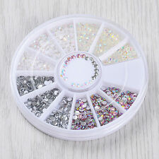 New DIY Nail Art Tips Charm Gems Crystal Glitter Rhinestones 3D Decor Wheel