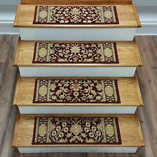 """Rug Depot 15 Traditional Carpet Stair Treads 26"""" x 9"""" Staircase Rugs Red Poly"""