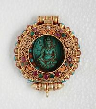 Silver Gold Plated Turquoise Coral Stones Gau Ghau Prayer Box Pendant from Nepal
