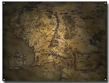 LORD OF THE RINGS MIDDLE EARTH MAP METAL SIGN A3 ,FILM , RING , HOBBIT