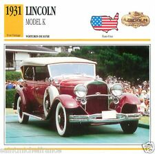 LINCOLN MODEL K 1931 CAR VOITURE USA ETATS-UNIS CARTE CARD FICHE