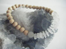 Rainbow Moonstone BEECH Wood Bracelet ECO Organic All Natural Beads Hand Made UK