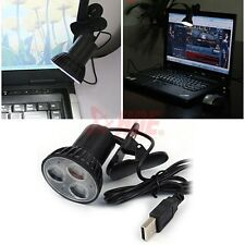 USB 3 LED Clip Light Bulb Lamp for Desktop Notebook PC Laptop Reading Study Blk