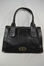 Fossil Black Leather & Pony Hair Zip Top Tote Bag Purse