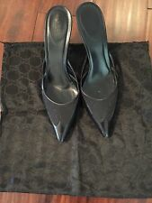 Gucci Black Leather & Canvas Mules/Kitten Heels. Pointed Toe 9.5