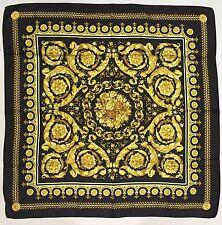 New VERSACE Foulard Carre 100% Itallian Silk Black & Gold Scarf
