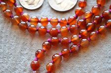 Orange Jade Hand Knotted Jaap Mala Beads Necklace - Energized Karma Nirvana Medi