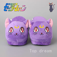 New Sailor Moon Luna Cat Plush Slippers Warm Indoor Shoes 28cm / 11'' Free Size