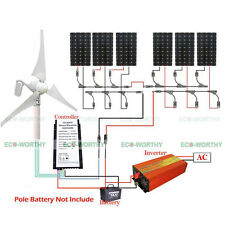 400W Hybrid Wind Generator & 6x 160W Mono Solar Panel Greed Home Power Charge