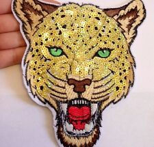 extra large leopard patches sequin applique iron on sew on patch badge motif UK
