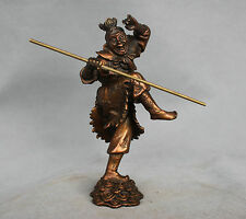 "8"" China Mythology Bronze Sun Wukong Monkey King Hold Stick Statue"